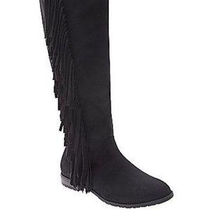 Lane Bryant black fringe boots sz 10 Wide calf